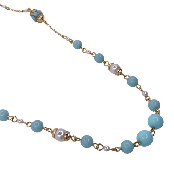 Banana Republic Sky Light Blue Pearl Necklace
